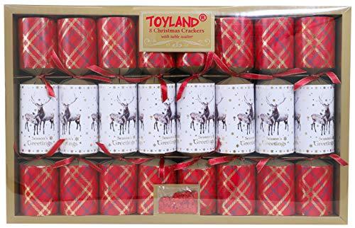 Toyland® Pack Of 8 - 34cm Luxury Tartan & Reindeer...