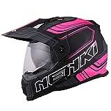 NENKI NK-313 Casco Enduro Moto ECE Aprobado (Negro Rosa Mate, XLarge)