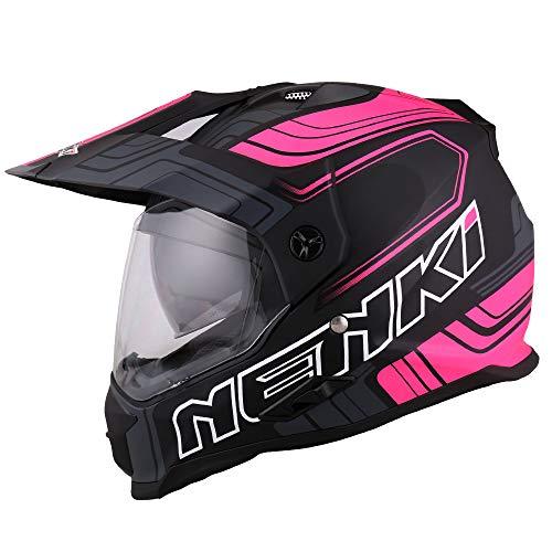 NENKI Crosshelm Enduro Helm Motorradhelm mit Visier und Sonnenblende NK-313 für Quad ATV Adventure,ECE-geprüft (Schwarz Rosa Matt, XL)