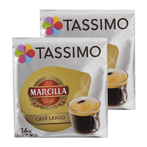Tassimo Marcilla Café Largo, Kaffee, Kaffeekapsel, Gemahlener Röstkaffee, 32 T-Discs