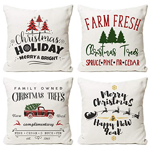 Christmas Throw Pillow Covers 18x18 Set of 4, Various Christmas Decoration Patterns for Sofa Bed Couch, Christmas Pillow Covers for Christmas Decorations