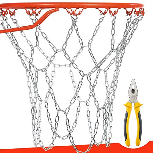 BETTERLINE Basketball Net Heavy Duty Metal Chain Replacement with 12 S-Hooks and Set of Pliers to Tighten Hooks   Rustproof Galvanized Iron 21-Inch (53 cm) Net (3.2mm Thick)