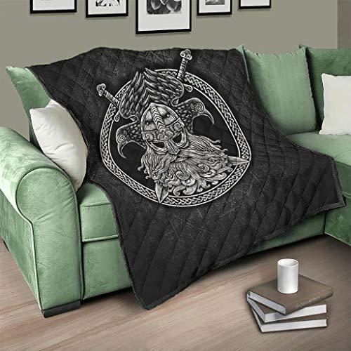 LL·Shawn traspirante Vikings Odin Crows, trapunta estiva di lusso per letto matrimoniale, 173 x 203 cm, colore: bianco