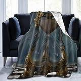 HUAYEXI Manta de Franela Suave,Ajedrez de Oro gótico de Reloj de Arena,Cama de Camping para sofá 127x102cm