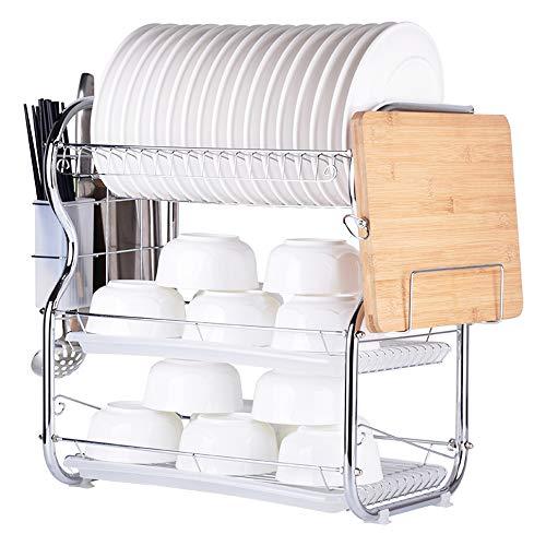 Decdeal Abtropfgestell Edelstahl Ablage für Küchenutensilien mit Essstäbchen, Messern, Schneidebretthalter und Abtropffläche 2-Tier
