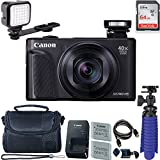 Canon PowerShot SX740 HS Digital Camera (Black) with 64 GB Card + LED Compact On-Camera Light + Premium Camera Case + 2 Batteries + Tripod