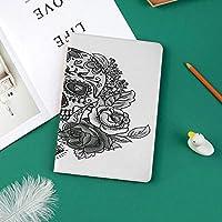 新しい ipad pro 11 2018 ケース スリムフィット シンプル 高級品質 手帳型 柔らかな内側 スタンド機能 保護ケース オートスリープ 傷つけバラの葉とダイヤモンドの形をした白黒スカル民俗祭り装飾装飾
