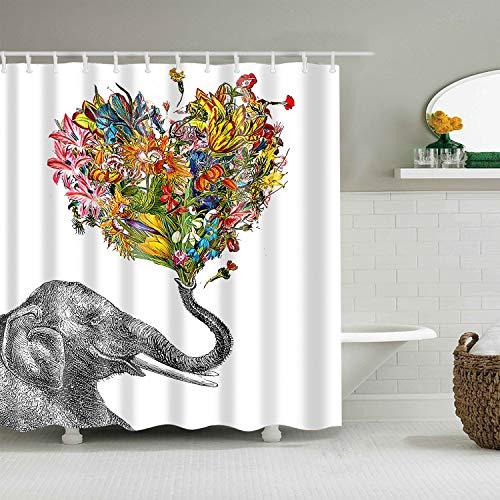 Rideau de douche occultant d'impression 3D en polyester imperméable Rideau de douche animal solide, rideau de salle de bain rideau de douche imperméable et résistant à la moisissure A2 180x180cm