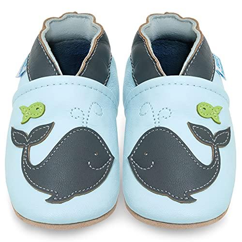 Juicy Bumbles Chaussure Bebe Garcon - Chausson Enfant Garcon - Chaussures Bébé - Chaussons Bébé Cuir Souple - Baleine - 6-12 Mois