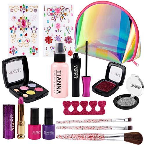 FancyWhoop 15 Pezzi Trucchi Bambina Set per Ragazze di Cosmetici per Bambini Lavabile Makeup Set di Cosmetici per Bambini Trucco Ragazza Giocattolo con 2 Adesivi Gioielli