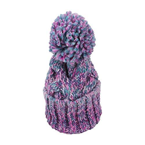VANKER Hiver Chaud Épais Couleur Mélangée Chapeaux Tricotés Pompon à Crochet Taille Ajustable Bonnet Violet