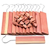 Wahdawn 42-Pack Cedar Blocks for Clothes Storage, Aromatic Cedar Wood Hangers and Hearts Blocks Natural Closets Deodorant Hangups, Scent Drawer Air Freshener Storing Clothing Protection