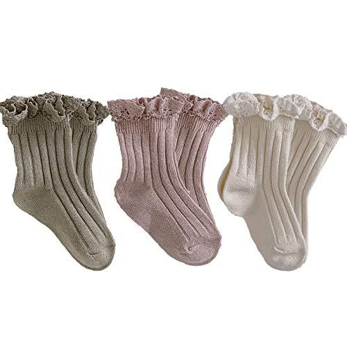 Ashmyova Baby Girls Vintage Ankel Lace Socks Toddler Ruffles Casual Dress Socks 3 Pack (Pink/Beige/Kahhi, 6-24 Months)