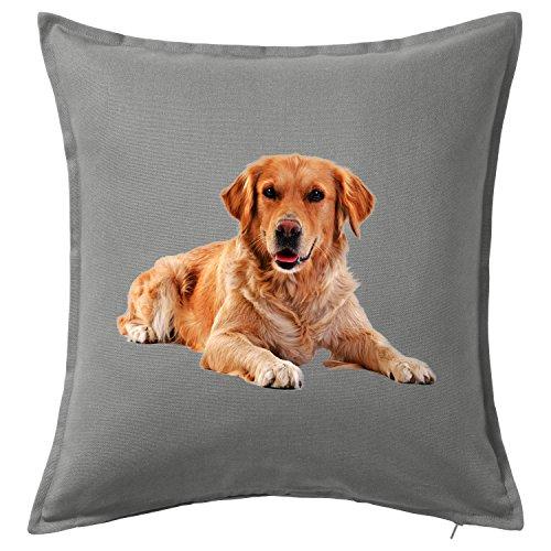 Golden Retriever Dog Funny kissenbezüge/Cushion & Pillow Cover (Grau)