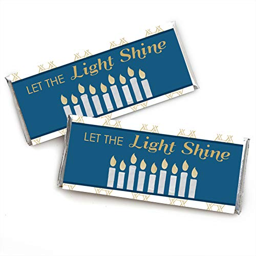 Big Dot of Happiness Happy Hanukkah - Candy Bar Wrapper Chanukah Party Favors - Set of 24