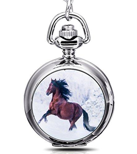 Infinite U Caballo blanco Colgante con Espejo Pequeño Reloj de bolsillo de Cuarzo para Mujer Collar Plateado