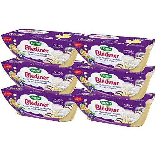 Blédina - Blediner - 12 bols - Mouliné d'Aubergines, Courgettes, Riz et Mozzarella - Pour le Diner de bébé dès 12 Mois - Pack de 6x2 bols