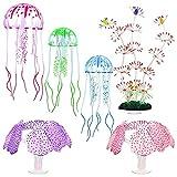 tellaLuna Decoraciones de pecera de silicona Ornamentos de acuario flotante artificial medusas Coral Plantas Simulación Coral Ornamento