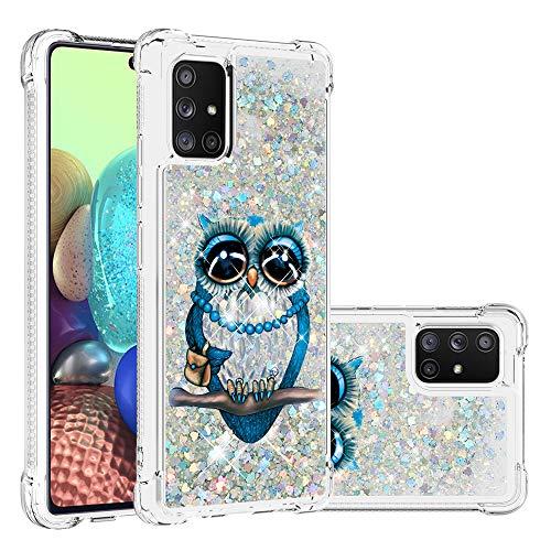 Funda para Samsung Galaxy A71 5G / 4G Quicksand Funda protectora de purpurina líquida Bling híbrido resistente a los golpes suave a prueba de golpes (Galaxy A71 5G, gato gris)