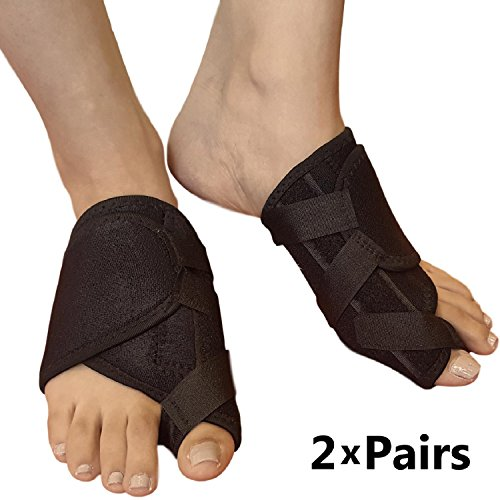 Bunion Corrector Toe Straightener – Bunion Brace For Big Toes or Tailors Bunions. Ideal Hallux Valgus Orthopedic Brace & Toe Separator for Foot Pain Relief. Foot Splint for Day or Night Time (2 Pairs)