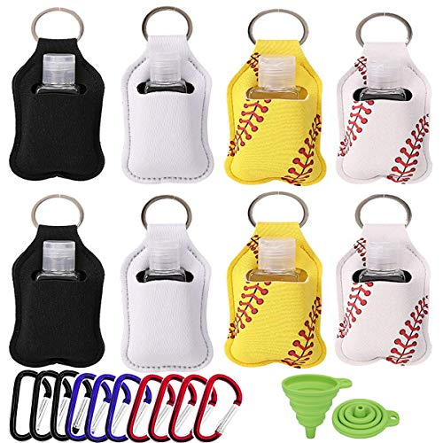 8 Pack Travel Bottles Keychain Holder 1oz/30ML Portable Hand Sanitizer Bottles with Flip Plastic Squeeze Bottles Refillable Containers for Soap, Lotion, Liquids - Kids Men Women Portable Using