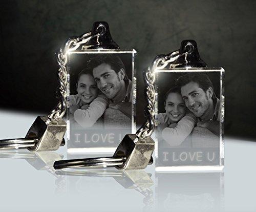 3Dglas 2 Stück Glas Schlüsselanhänger mit Fotogravur | Doppelpack
