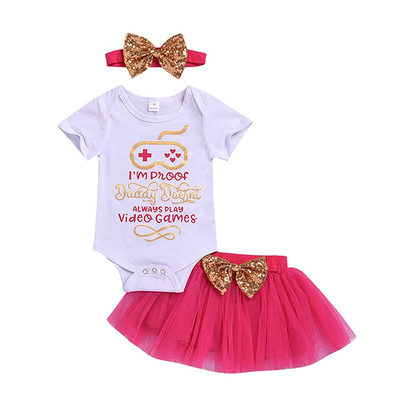 3pcs Infant Baby Girls Funny Letter Printed Rompers Bowknot Tulle Tutu Skirt Headband Summer Outfit Set