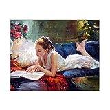 Pintura Caligrafía Chica DIY Pintura por Números Imagen de Arte de Pared Decoración del Hogar 60X75Cm Marco de Bricolaje
