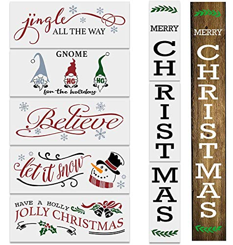 8PCS Reusable Christmas Stencils for Painting on Wood-Merry Christmas Front Porch Sign Stencils -Farmhouse Christmas Stencils Including Gnome/Believe/Let it Snow/Jingle All The Way Stencils