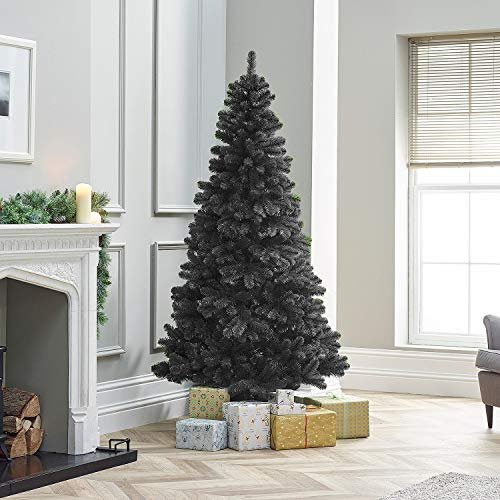 TrendMakers 6ft Black Pine Xmas Tree Artificial Christmas Tree   800 Branch Tips   With Metal Stand