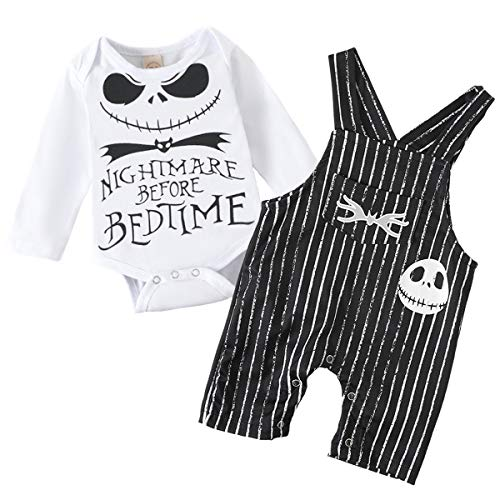 Baby Boy Girl Clothes 2PCs Outfit Set Nightmare Before Bedtime Skull Christmas Clothing Set (Boy Black, 12-18 Months)