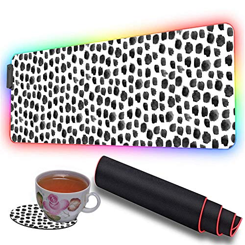 RGB Soft Gaming Mouse Pad Large and Coaster Set,Oversized Glowing Led Extended Mousepad,10 Lighting Modes,Non-Slip Rubber Base Computer Keyboard Pad Mat,31.5X 11.8in,Polka Dot Print