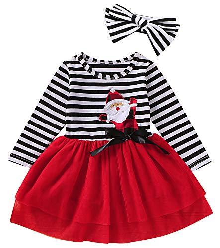 Mini honey 2PCS Toddler Baby Girl Christmas Dress Cotton Long Sleeve Santa Prints Christmas Princess Tutu Dress+Headband (6-12 Months, Red)