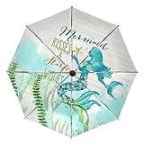 Paraguas pequeño de Viaje a Prueba de Viento al Aire Libre Lluvia Sol UV Auto Compacto 3 Pliegues Cubierta de Paraguas - Sirena bajo el mar Cuento de Hadas
