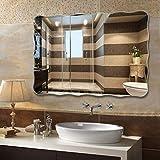 GDSKL Espejo montado en la pared Pared grande sin marco Horizontal/Vertical Rectángulo fácil de colgar Maquillaje de vidrio HD para baño Tocador Dormitorio,Los 50x70cm