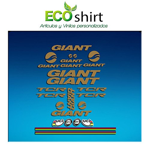 Ecoshirt E3-PIEX-EV89 Pegatinas Frame Cuadro Giant TCR Am20 Stickers Aufkleber Decals Adesivi Bike BTT MTB Cycle, Gold