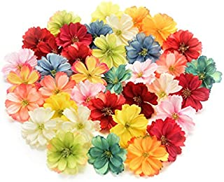 Fake flower heads in bulk wholesale for Crafts Artificial Silk Flowers Head Peony Daisy Decor DIY Flower Decoration for Home Wedding Party Car Corsage Decoration Fake Flowers 50PCS 4cm (Colorful)
