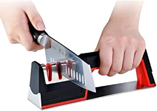 DUDDP knife sharpener Knife Sharpener Manual, 3 Stage, Non-Slip Base, Stainless-Steel/Black Straight Steel Knives, Including Diamond, Ceramic, Cemented carbideslot, The Best Professional Premium Kitch
