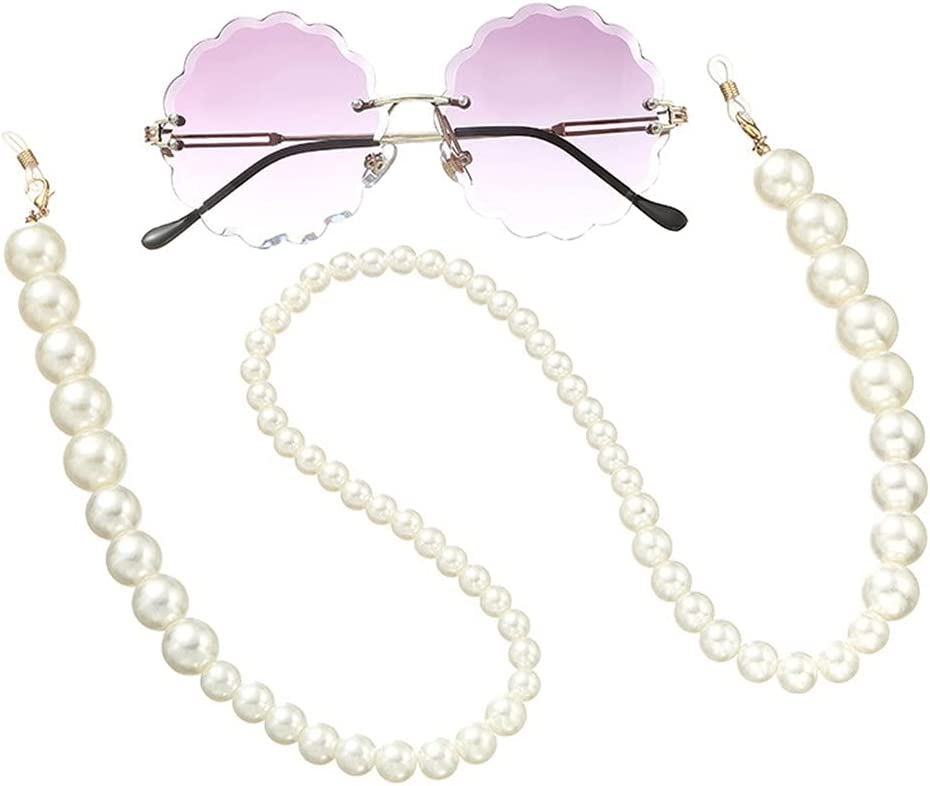 ZYKBB Glasses Chain for Women Big simulation Pearl Bead Chain For Glasses Lanyard Strap Cords Casual Sunglasses Accessories (Color : A, Size : Length-70CM)