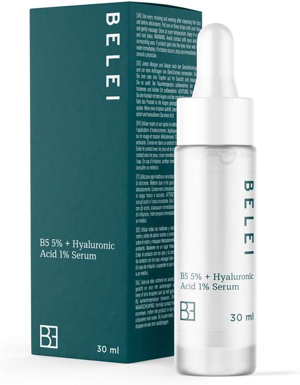 Marca Amazon - Belei - Sérum 5% de provitamina B5 y 1% de ácido hialurónico, 91.4% ingredientes naturales, vegano, 30 ml