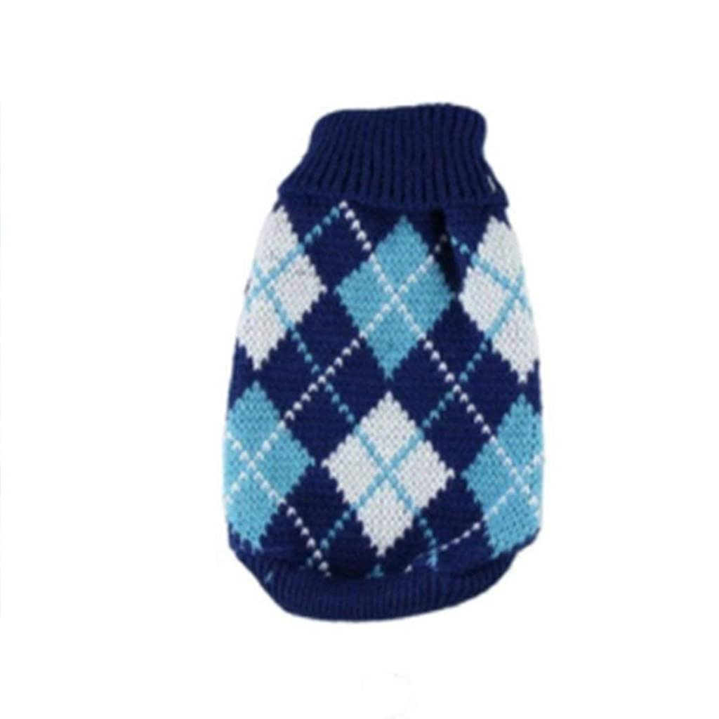 慣れているモロニック粒Saikogoods 軽量ペットの暖かいセーターユニバーサル犬服ファッションソフト犬服ハイカラー快適なペットのコート 青 XS
