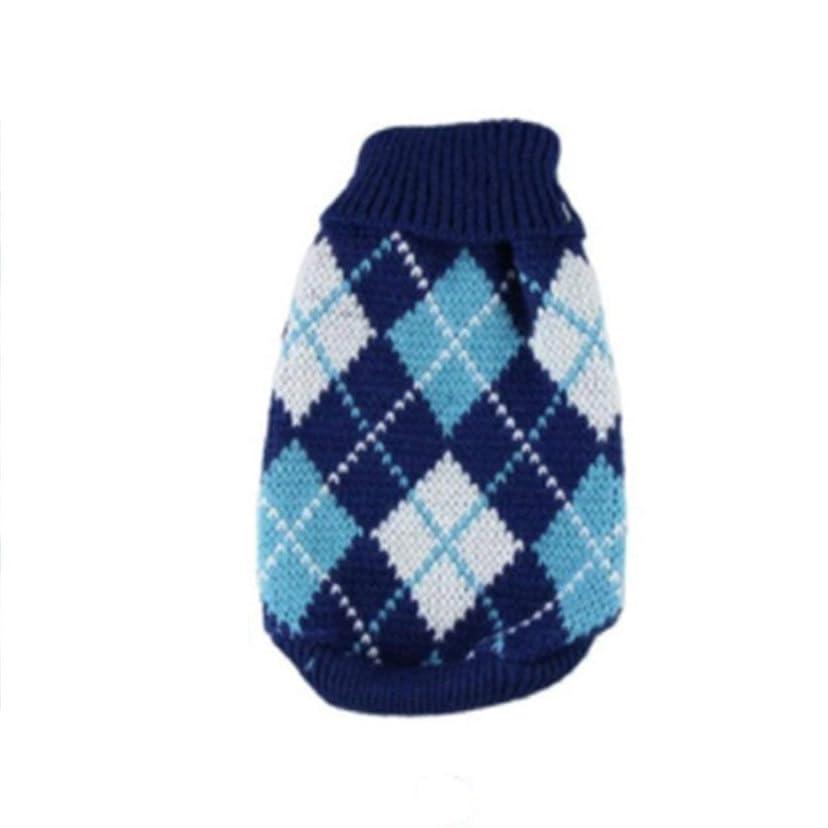 吸収剤成り立つ容赦ないSaikogoods 軽量ペットの暖かいセーターユニバーサル犬服ファッションソフト犬服ハイカラー快適なペットのコート 青 XS