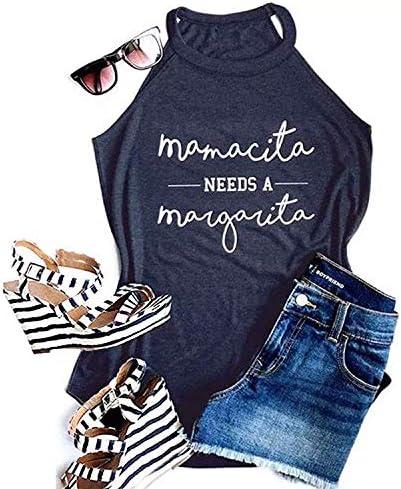 Mamacita Needs a Margarita Women Halter Tank Top Funny Running Shirts with Sayings Graphic Sleeveless product image