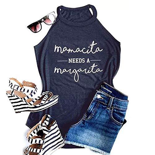 Mamacita Needs a Margarita Women Halter Tank Top Caim Funny Casual Sleeveless Basic Tops Summer Beach Tees Workout Vacation Shirts, Navy Blue M