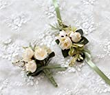 Flonding Rose Wedding Wrist Corsage and Boutonniere Set Party Prom Hand Ribbon Flower Suit Decor (Beige)