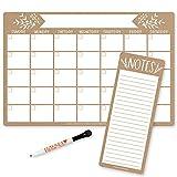 Magnetic Fridge Calendar Dry Erase Magnetic Calendar for Refrigerator - Rustic Magnetic Dry Erase Calendar for Fridge, White Board Calendar for Wall, Dry Erase Board Calendar, Magnetic Notepad