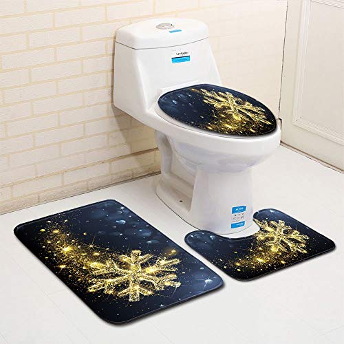 European-Style Christmas Printed Non-Slip Floor Mats 3-Piece Set Of Absorbent Bathroom Mats, Comfortable And Soft Toilet Carpet