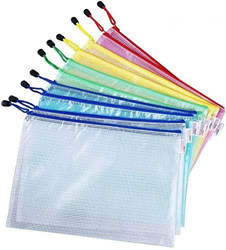 Vicloon Borse di File, Sacchetto di Zip Impermeabile Mesh Sacchetto del Documento per Uffici Cosmetici Forniture Accessori da Viaggio, 5 Colori (10 pezzi * A4)