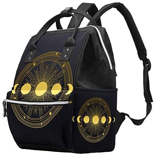 Grand sac à langer multifonction pour maman et papa, orbites de lune, étoiles sur noir