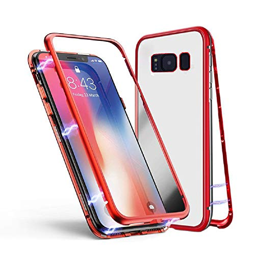 Funda para Samsung Galaxy Note 8, Jonwelsy Adsorción Magnética Bumper Metal con Flip Cover Imán Construido en, Ultra Delgado Case Vidrio Templado Transparente Back Cover para Samsung Galaxy Note 8